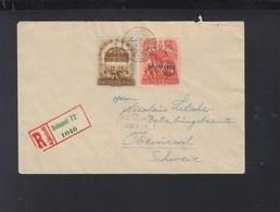 Hungary Registered Cover Overprints 1938 To Switzerland - Hungary