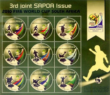 South Africa RSA 2010 Sheet 3rd Joint SAPOA Issue FIFA World Cup Football Game Soccer Sports Round Shap Stamps MNH - South Africa (1961-...)