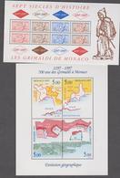 MONACO 2 Blocs Feuillets Neufs N° YT BF75 76 -1997 Sceau Du Prince Evolution Géographique De La Principauté - Blocks & Sheetlets