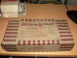 Breakfast Ration Type K  Packaged By Hiram Walker Sons Inc Peoria 1 Illionis  Old Box Cardboard - Boîtes/Coffrets