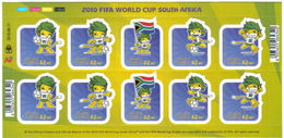 South Africa RSA 2010 ZAKUMI STICKER FIFA World Cup Football Game Soccer Sports S/S Self Adhesive Stamps MNH SG 1781-85 - Blocs-feuillets