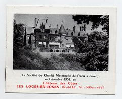 78 - LES LOGES EN JOSAS - CHATEAU DES COTES - DEPLIANT DU CENTRE DE CONVALESCENCE POUR LES ENFANTS - MEDECINE - Dépliants Touristiques