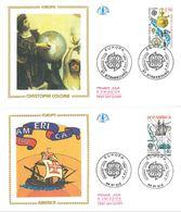 FDC Europa Christophe Colomb - America (2 Env) (67 Strasbourg - 88 St Dié 09/05/1992) - FDC