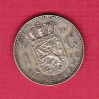 NETHERLANDS   1 GULDEN SILVER 1954 (KM # 184) #5228 - [ 3] 1815-… : Kingdom Of The Netherlands
