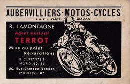 Motos Cycles Aubervilliers Agent Exclusif Moto Terrot Paris X ( Carton Publicitaire Publicité ) - Sports & Tourism