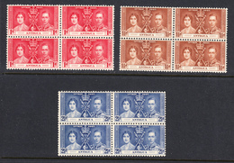 Antigua 1937 Coronation, Blocks, Mint No Hinge, Sc# 81-83, SG 95-97, Mi 75-77 - Antigua & Barbuda (...-1981)