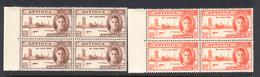 Antigua 1946 Peace, Blocks, Mint No Hinge, Sc# 96-97, SG 110-111, Mi 90-91 - 1858-1960 Colonie Britannique