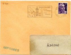 RHIN / Haut - Dépt N° 68 = RIQUEWIHR 1953 =  FLAMME SUPERBE = SECAP Illustrée 'VILLE HISTORIQUE / VINS Réputés ' - Marcofilia (sobres)
