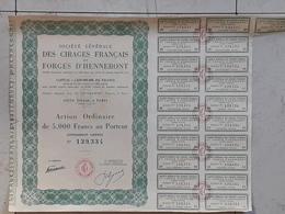"""Action Au Porteur De 5000 Francs. Société Générale Des Cirages Français E""""t Forges D'Hennebont - Industrie"""