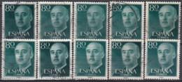 SPAIN - Scott 824 Gen. Franco / 10 Used Stamps (K1148) - Stamps