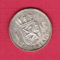 NETHERLANDS   1 GULDEN SILVER 1964 (KM # 184) #5229 - 1948-1980 : Juliana