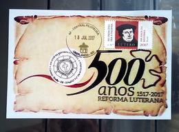 Postcard Stamp Selo Reforma Luterana Lutero Luther Brazil 2017 - Brasil