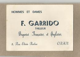 Algérie Oran Carte De Visite Garrido Tailleur Draperies Françaises Et Anglaises 3 Rue Elisée Reclus - Cartes De Visite