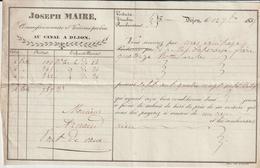 AA72 - Côte D'Or, Lettre De Voiture Joseph Maire, Voiturier Par Eau Canal à Dijon 1835 - France