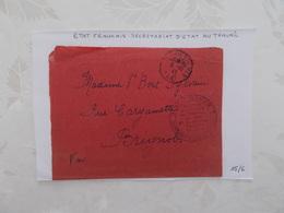 DOCUMENT GUERRE DE 39/45.CACHET TOULON.TAMPON ETAT FRANCAIS.SECRETARIAT D'ETAT AU TRAVAIL. - Marcophilie (Lettres)