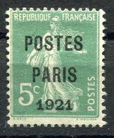 RC 10579 FRANCE PRÉO N° 26 - POSTE PARIS 1921 SUR 5c SEMEUSE COTE 85€ NSG (*) TB - Precancels