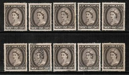 ST.VINCENT  Scott # 194 USED WHOLESALE LOT OF 10 (WH-277) - Stamps