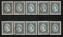 ST.VINCENT  Scott # 188 USED WHOLESALE LOT OF 10 (WH-278) - Stamps