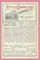 68 - URBEIS - ORBEY - Carte Dos Publicité - Hôtel CORNELIUS - Excursions - Orbey