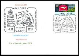 97569) BRD - Karte - SoST 74405 GAILDORF Vom 04.11.2018 - Star - Vogel Des Jahres, Naturpark - BRD