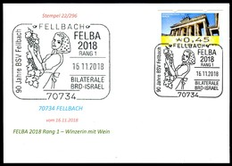 97577) BRD - Karte - SoST 70734 FELLBACH Vom 16.11.2018 - FELBA 2018 Ausstellung, Winzerin, Weintraube - BRD
