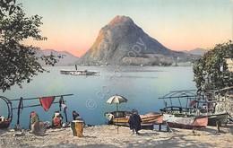 Cartolina Lugano Lago E Monte S. Salvatore Illustrata - Non Classificati