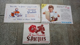 Buvard Lot 3 Buvards Chocolat Poulain Menier Saint Jacques - Chocolat