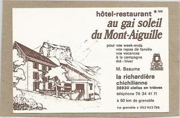 38 Isère - Chichilianne La Richardière Hotel Restaurant Au Gai Soleil Du Mont Aiguille Carte De Visite Cdv - Cartes De Visite