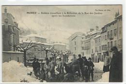 1 Cpa Morez - Soldat Travaillant à La Réfection De La Rue Des Jardins Après Les Inondations - Morez