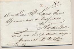 """Nederland - 1843 - Complete Vouwbrief """"Met Een Half Anker Wijn"""" Van Amsterdam Naar Haarlem - Nederland"""