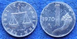 ITALY - 1 Lira 1970 R KM# 91 Republic (1946-2001) - Edelweiss Coins - 1946-… : République