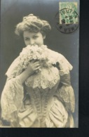 MODE -Jeune Femme Taille De Guêpe - Robe Dentelle -voyagée 1906- Recto Verso -Paypal Free- - Mode