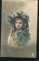 MODE- Petite Fille Au Chapeau Fleuri -Robe Dentelle- Pensées Affectueuses  - Voyagée 1912 -Recto Verso -Paypal Free- - Mode