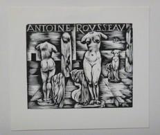 Ex-libris Illustré Belgique XXème - Statues Femmes Nues - ANTOINE ROUSSEAU - Ex-libris