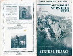 1929 Paris Orleans Railway Automobile Services Central France - Dépliants Touristiques