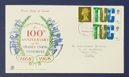 1968 Great Britain, FDC, The 100th Anniversary Of The Trades Union Congress - 1952-1971 Dezimalausgaben (Vorläufer)