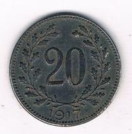 20 HELLER 1917 OOSTENRIJK /8245/ - Oostenrijk