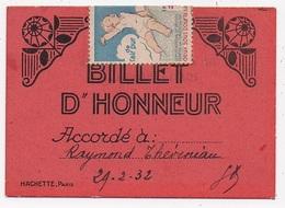 BILLET D'HONNEUR AUBERVILLIERS 93 Ecole Jean Macé Eleve Theveniau - Diploma & School Reports