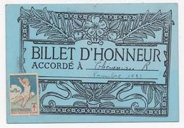 BILLET D'HONNEUR AUBERVILLIERS 93 Ecole Jean Macé Eleve Theveniau - Diplômes & Bulletins Scolaires