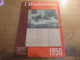 Calendrier Parti Communiste L'Humanité 1950 - Calendriers