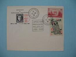 Lettre Avec Vignette Correspondante   1938 Foire De Lyon Propagande Philatélique - Postmark Collection (Covers)