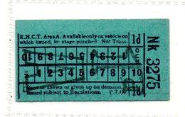 BUS / TRAM TICKETS - K.H.C.T. AREA A - ADVERTISEMENT IN THE BACK - T575 - Biglietti Di Trasporto