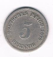 5 PFENNIG  1875 A DUITSLAND /8268/ - [ 2] 1871-1918 : Duitse Rijk