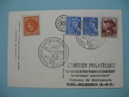 1944 Carte Avec Vignette  - Exposition Philatélique Château De Malmaison - Marcophilie (Lettres)