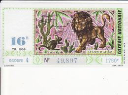 JEAN DE LA FONTAINE - LE LION ET LE RAT - BILLET DE LOTERIE NATIONALE 1956 - - Fairy Tales, Popular Stories & Legends