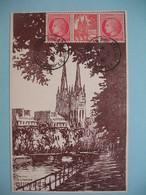 1946 Carte Avec Vignette - Exposition Philatélique De Quimper - L'Art Et Les Timbres - 1921-1960: Periodo Moderno
