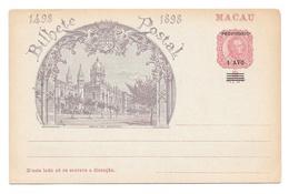 Macao Macau 1898 Illustrated Postal Stationery Card Revalued 1 Avo On 2 Avo Unused - Macau