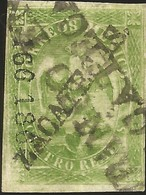 "J) 1864 MEXICO, II PERIOD, IMPERIAL EAGLE, 4 REALES, GREEN, NICE ZACATECAS CANCELLATION ""FRANCO EN ZACATECAS"" XF - Mexico"