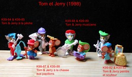 Kinder 1999 : Série Complète TOM & JERRY (8 Figurines) Avec 4 BPZ - Dessins Animés