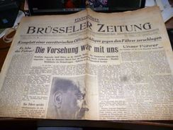 Rare Militaria WW2 Journal 21/7/44 Brüsseler Zitung Extrablatt Missiles V1 Propagande Allemande En Belgique - Revues & Journaux